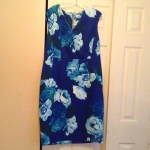 Calvin Klein V neck floral print dress